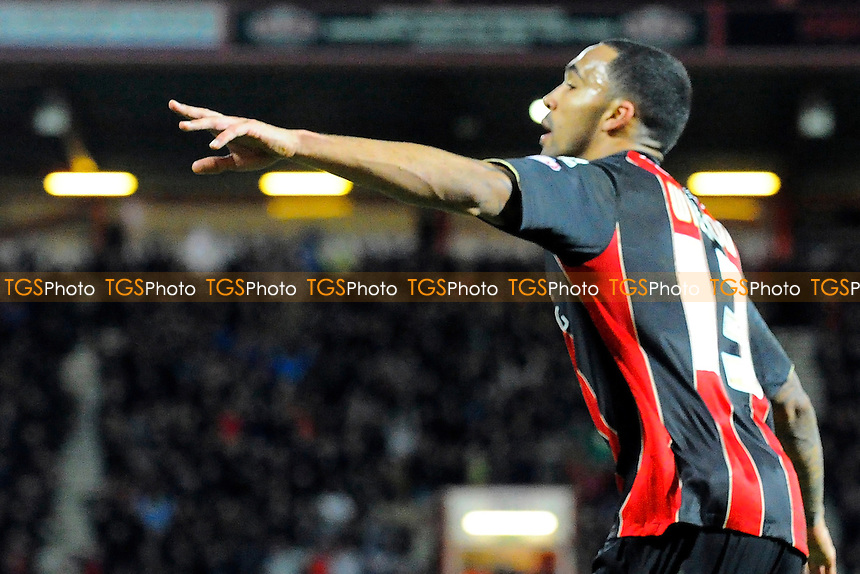 Callum Wilson of AFC Bournemouth celebrates scoring the second AFC Bournemouth goal to make the score 2-1 just before half time - AFC Bournemouth vs Derby County - Sky Bet Championship Football at the Goldsands Stadium, Bournemouth, Dorset - 10/02/15 - MANDATORY CREDIT: Denis Murphy/TGSPHOTO - Self billing applies where appropriate - contact@tgsphoto.co.uk - NO UNPAID USE