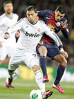 FC Barcelona's Pedro Rodriguez (r) and Real Madrid's Cristiano Ronaldo during Copa del Rey - King's Cup semifinal second match.February 26,2013. (ALTERPHOTOS/Acero) /Nortephoto