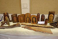 NWA Democrat-Gazette/BEN GOFF @NWABENGOFF<br /> Woodwork by members of the Bella Vista Woodcarvers Club sits on display Saturday, July 15, 2017, during the Bella Vista Woodcarvers Club's Artistry in Wood Show at Bella Vista Assembly of God church. Members of the club exhibited and sold their woodwork at the show, which also included door prizes, demonstrations and a people's choice award.