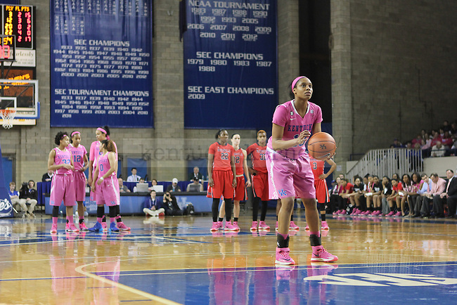 UK guard Bria Goss shoots a free throw after University of Mississippi bench received a technicality Memorial Coliseum on February 13, 2014. Photo by Judah Taylor | Staff