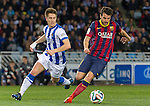 Real Sociedad's Daniel Estrada (l) and FC Barcelona's Cesc Fabregas during La Copa match.February 12,2014. (ALTERPHOTOS/Mikel)