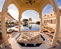 A luxurious relaxing gazebo at the Oberoi Udaivilas, India.<br /> (Photo by Matt Considine - Images of Asia Collection)