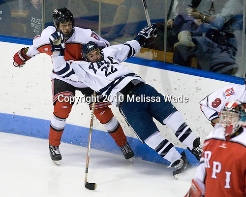 Peter Merth (RPI - 6), Brendan Mason (Yale - 22) - The Rensselaer Polytechnic Institute (RPI) Engineers defeated the Yale University Bulldogs 4-0 on Saturday, January 30, 2010, at Ingalls Rink in New Haven, Connecticut.