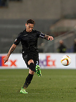 Calcio, Europa League: Lazio vs Sparta Praga. Roma, stadio Olimpico, 17 marzo 2016.<br /> Lazio's Lucas Biglia kicks the ball during the round of 16 second leg soccer match between Lazio and Sparta Praha, at Rome's Olympic Stadium, 17 March 2016. Sparta Praha won 3-0 to join the quarter finals.<br /> UPDATE IMAGES PRESS/Isabella Bonotto