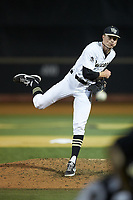 Wake Forest Demon Deacons relief pitcher William Fleming (38) in action against the North Carolina State Wolfpack at David F. Couch Ballpark on April 18, 2019 in  Winston-Salem, North Carolina. The Demon Deacons defeated the Wolfpack 7-3. (Brian Westerholt/Four Seam Images)