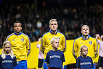 Solna 2015-10-12 Fotboll EM-kval , Sverige - Moldavien :  <br /> Sveriges John Guidetti under lineup inf&ouml;r matchen mellan Sverige och Moldavien <br /> (Photo: Kenta J&ouml;nsson) Keywords:  Sweden Sverige Solna Stockholm Friends Arena EM Kval EM-kval UEFA Euro European 2016 Qualifying Group Grupp G Moldavien Moldova portr&auml;tt portrait