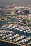 Aerial view of Shoreline Marina and Rainbow Harbor looking to the Port of Long Beach, CA.
