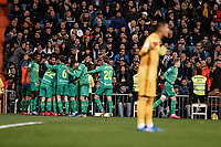 6th February 2020; Estadio Santiago Bernabeu, Madrid, Spain; Copa Del Rey Football, Real Madrid versus Real Sociedad; Alexander Isak (Real Sociedad)  celebrates his goal which made it 0-2 in the 54th minute as goalkeeper Alphonse Areola (Real Madrid) looks on dejected