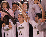 8 December 2007: Wake Forest players Marcus Tracy (9), Jamie Franks (11) and Austin da Luz (6) hold up four fingers on each hand to celebrate their advancement to the final four of the NCAA tournament. Wake Forest University defeated Notre Dame University 1-0 in overtime at Spry Stadium in Winston-Salem, NC in an NCAA Men's Soccer tournament quarterfinal.
