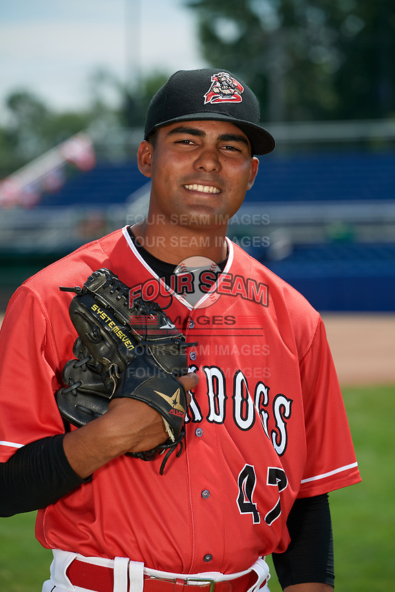 Batavia Muckdogs pitcher Manuel Rodriguez (47) poses for a photo on July 2, 2018 at Dwyer Stadium in Batavia, New York.  (Mike Janes/Four Seam Images)