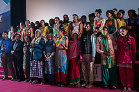 "Nepal, Kathmandu. Nepal Youth Foundation. Ex Kumlari girls from Dang, who have been freed from bonded labor. Attending  Urmila Chaudhary's movie, ""Urmila: My memory is My Power."""