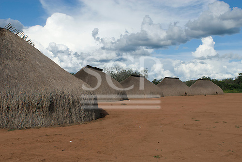 Xingu Indigenous Park, Mato Grosso State, Brazil. Aldeia Waura. Village of traditional oca houses.