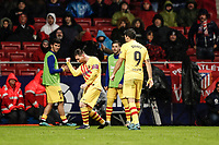 1st December 2019; Wanda Metropolitano Stadium, Madrid, Spain; La Liga Football, Atletico de Madrid versus Barcelona; Lionel Messi (FC Barcelona)  celebrates his goal which made it 0-1 in the 86th minute  - Editorial Use