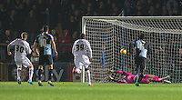 Jon Stead of Notts County scores his penalty past Goalkeeper Matt Ingram of Wycombe Wanderers during the Sky Bet League 2 match between Wycombe Wanderers and Notts County at Adams Park, High Wycombe, England on 15 December 2015. Photo by Andy Rowland.