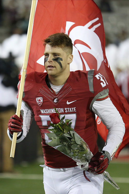 Skyler Cracraft, Washington State University defensive back, is acknowledged for senior day prior to the Cougars Pac-12 conference game against the Colorado Buffaloes at Martin Stadium in Pullman, Washington, on November 21, 2015.  The Cougar defense kept Colorado out of the end zone all night, as WSU soundly defeated Colorado, 27-3.