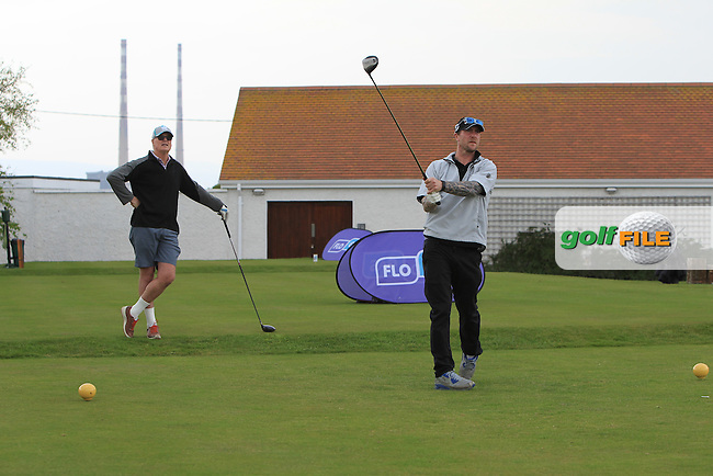 playing with Stuart Grehan (Tullamore) on the 1st tee during the Flogas Irish Amateur Open Championship Am-Am at Royal Dublin on Monday 9th May 2016.<br /> Picture:  Thos Caffrey / www.golffile.ie