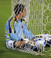 DC United goalkeeper Troy Perkins (1) sits in the net after giving up a goal. CD Chivas USA tied D. C. United 2-2 during an MLS regular season match at the Home Depot Center, Carson, CA, on September 6, 2007.