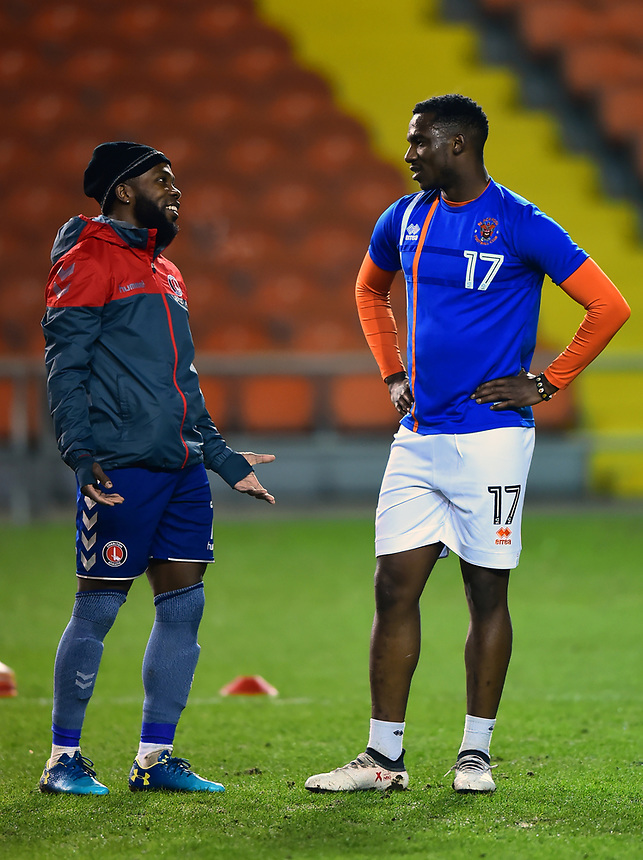 Charlton Athletic's Mark Marshall and Blackpool's Viv Solomon-Otabor chat prior to the match<br /> <br /> Photographer Richard Martin-Roberts/CameraSport<br /> <br /> The EFL Sky Bet League One - Blackpool v Charlton Athletic - Tuesday 13th March 2018 - Bloomfield Road - Blackpool<br /> <br /> World Copyright &not;&copy; 2018 CameraSport. All rights reserved. 43 Linden Ave. Countesthorpe. Leicester. England. LE8 5PG - Tel: +44 (0) 116 277 4147 - admin@camerasport.com - www.camerasport.com