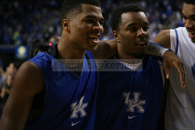 Guards Andrew Harrison and EJ Floreal, and forward Karl-Anthony Towns laugh together as they exit the court after the second half of the Blue-White Scrimmage at Rupp Arena on Monday, October 27, 2014 in Lexington, Ky. Photo by Adam Pennavaria | Staff