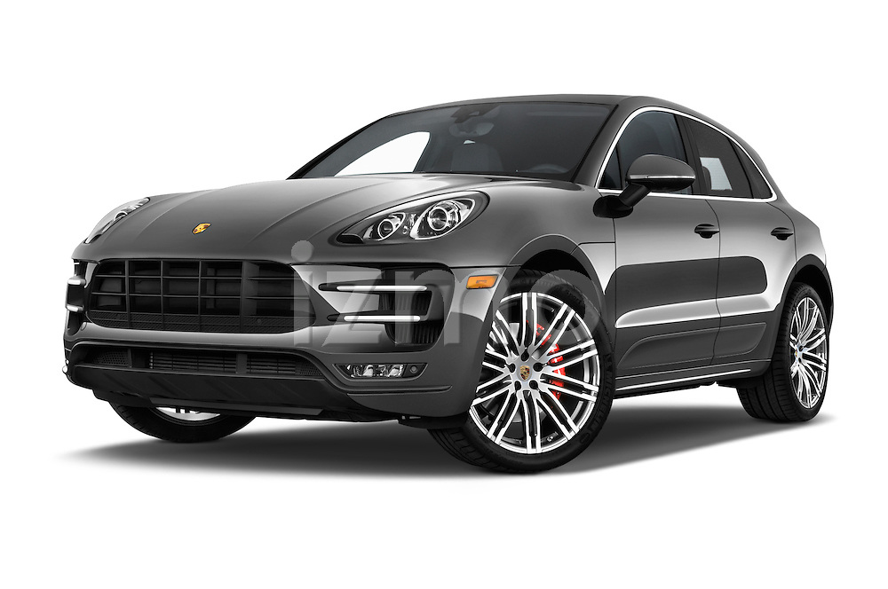 Stock pictures of low aggressive front three quarter view of a 2015 Porsche Macan Turbo 5 Door SUV