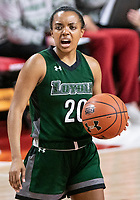 COLLEGE PARK, MD - DECEMBER 8: Alexis Gray #20 of Loyola calls out during a game between Loyola University and University of Maryland at Xfinity Center on December 8, 2019 in College Park, Maryland.