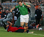 Dublin Ireland. Irelands No 3 Kevin Kilbane is taken down by Chile 21  manuel Iturra Urrutia during the friendly soccer international at Lansdowne road Dublin Ireland 24/5/06.Photo AFP/NEWSFILE/FRAN CAFFREY..(Photo credit should read AFP PHOTO/FRAN CAFFREY/NEWSFILE)...This Picture has been sent you under the condtions enclosed by:.Newsfile Ltd..the Studio,.Millmount Abbey,.Drogheda,.Co Meath..Ireland..Tel: +353(0)41-9871240.Fax: +353(0)41-9871260.GSM: +353(0)86-2500958.email: pictures@newsfile.ie.www.newsfile.ie.FTP: 193.120.102.198..This picture is from Fran Caffrey@newsfile.ie
