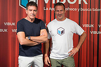 Spanish actor Antonio Banderas and Jorge Martinez during the presentation of the new App 'Vibuk' at Palacio de la Prensa in Madrid, Spain September 12, 2017. (ALTERPHOTOS/Borja B.Hojas)