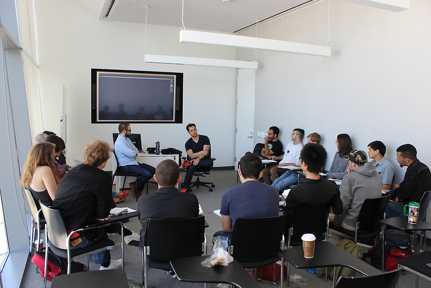 Actor Matt McGorry '08 speaks to students in the Business of Directing class at Emerson Los Angeles on March 30, 2015.