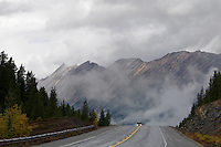 Storm clouds enshroud the Icefield Parkway in Canada