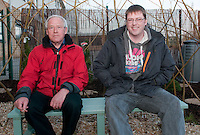 Local Architect Ian Briggs (L) and hos son Colin Briggs (R) who, along with help from staff, pupils and Kwik-Fit staff, designed and built the garden in 3 months. Kwik-Fit Insurance opens sensory garden at Rutherglen High School, Cambuslang on 2 March 2011, Picture: Al Goold/Universal News and Sport (Europe) 2011.