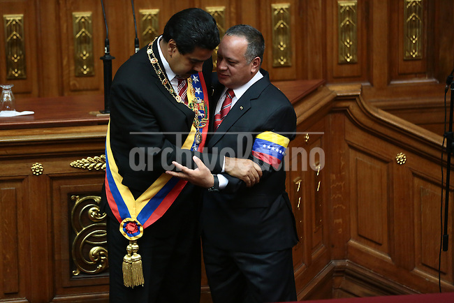 Nicolas Maduro takes the presidential oath from National Assembly's President Disodado Cabello during a swearing-in ceremony at the National Assembly in Caracas, Venezuela