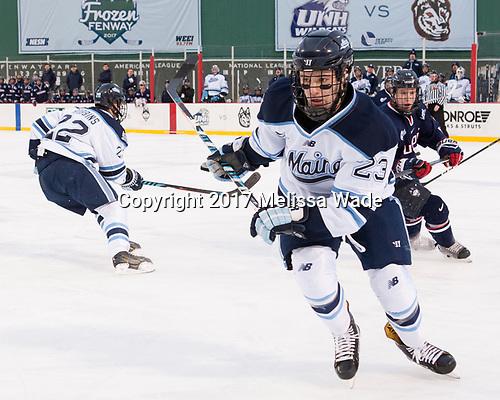 Sam Becker (Maine - 23), Evan Richardson (UConn - 19) - The University of Maine Black Bears defeated the University of Connecticut Huskies 4-0 at Fenway Park on Saturday, January 14, 2017, in Boston, Massachusetts.