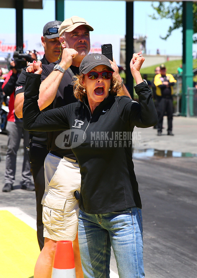 May 21, 2017; Topeka, KS, USA; Kay Torrence , mother of NHRA top fuel driver Steve Torrence during the Heartland Nationals at Heartland Park Topeka. Mandatory Credit: Mark J. Rebilas-USA TODAY Sports