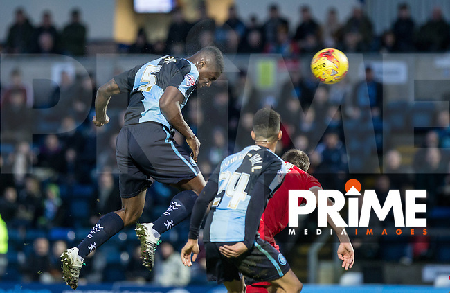 Anthony Stewart of Wycombe Wanderers heads a shot at goal during the Sky Bet League 2 match between Wycombe Wanderers and Leyton Orient at Adams Park, High Wycombe, England on 23 January 2016. Photo by Andy Rowland / PRiME Media Images.