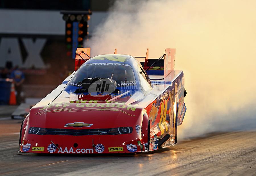 Sep 18, 2015; Concord, NC, USA; NHRA funny car driver John Force during qualifying for the Carolina Nationals at zMax Dragway. Mandatory Credit: Mark J. Rebilas-USA TODAY Sports