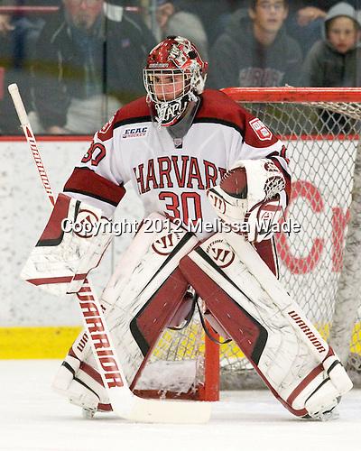 Raphael Girard (Harvard - 30) - The Yale University Bulldogs defeated the Harvard University Crimson 5-1 on Saturday, November 3, 2012, at Bright Hockey Center in Boston, Massachusetts.