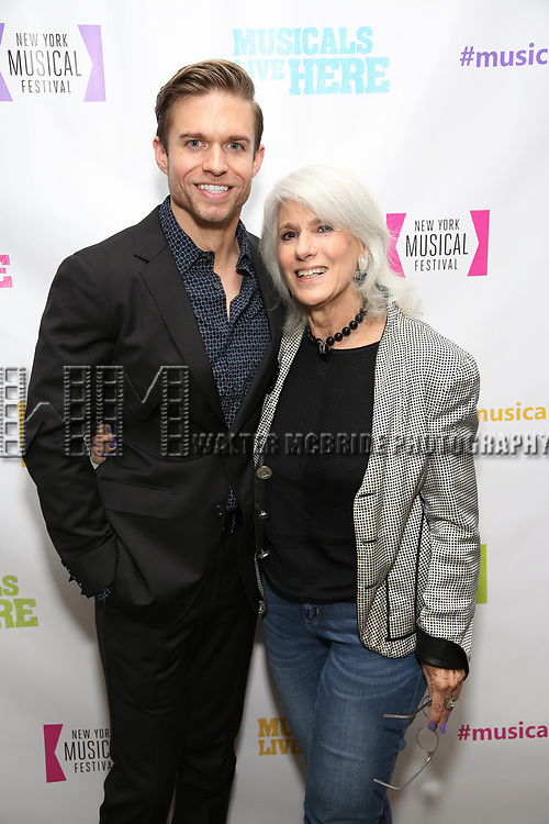 """Hunter Ryan Herdlicka and Jamie deRoy backstage at the New York Musical Festival production of  """"Alive! The Zombie Musical"""" at the Alice Griffin Jewel Box Theatre on July 29, 2019 in New York City."""