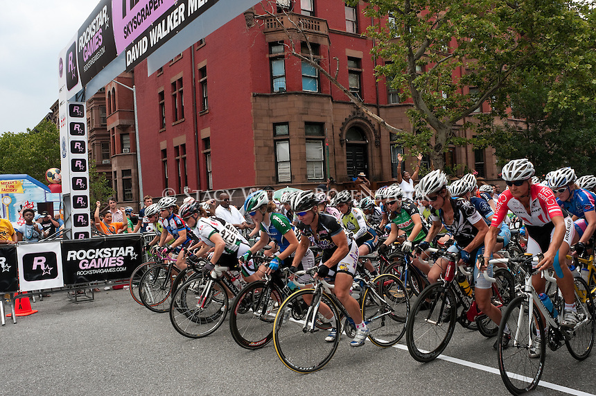 New York, NY -  20 June 2010 -Womens' start of  the 2010 Skyscraper Harlem Cycling Classic in Marcus Garvey Park,  Harlem.