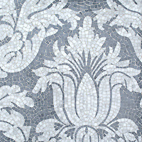 Kingston Lacy, a hand-cut stone mosaic, shown in polished Bardiglio and Calacatta, is a design by Rogers & Goffigon, reimagined in mosaic.