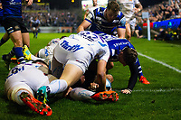 Joe Cokanasiga of Bath Rugby looks to have crossed the try-line but the score isn't awarded. Gallagher Premiership match, between Bath Rugby and Exeter Chiefs on October 5, 2018 at the Recreation Ground in Bath, England. Photo by: Patrick Khachfe / Onside Images
