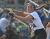 Tonianne Larson #14, Long Beach pitcher, throws to first base for an out in the bottom of the fifth inning of Game 3 of the Nassau County varsity softball Class AA final against East Meadow at Mitchel Athletic Complex on Friday, May 26, 2017.