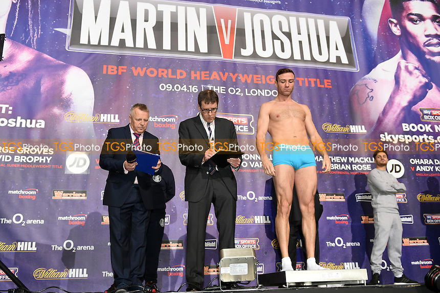 Matthew Macklin during the Anthony Joshua vs Charles Martin Weigh-In at the O2 Arena on 8th April 2016
