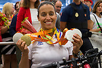 Spanish's paralympic Teresa Perales arrive to Madrid Adolfo Suarez airport after the Paralympics of Rio 2016 . September 21, 2016. (ALTERPHOTOS/Rodrigo Jimenez)
