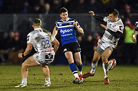 Freddie Burns of Bath Rugby puts boot to ball. Premiership Rugby Cup match, between Bath Rugby and Gloucester Rugby on February 3, 2019 at the Recreation Ground in Bath, England. Photo by: Patrick Khachfe / Onside Images