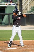 Tyler Williams (6) of the Kannapolis Intimidators at bat against the Hagerstown Suns at CMC-Northeast Stadium on June 1, 2014 in Kannapolis, North Carolina.  The Suns defeated the Intimidators 11-5 in game two of a double-header.  (Brian Westerholt/Four Seam Images)