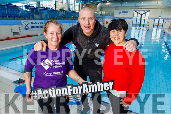 At the 24 hour Swimathon in aid of action for Amber in the Tralee Sports Complex on Saturday<br /> L to r: Caroline Corkery, Kieran Donaghy and Elaine Burrows Dillane.