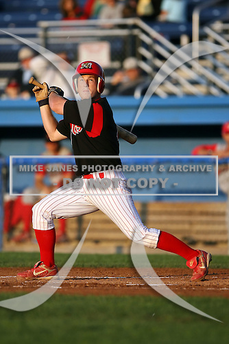 August 26 2008:  Brett Lilley of the Batavia Muckdogs, Class-A affiliate of the St. Louis Cardinals, during a game at Dwyer Stadium in Batavia, NY.  Photo by:  Mike Janes/Four Seam Images