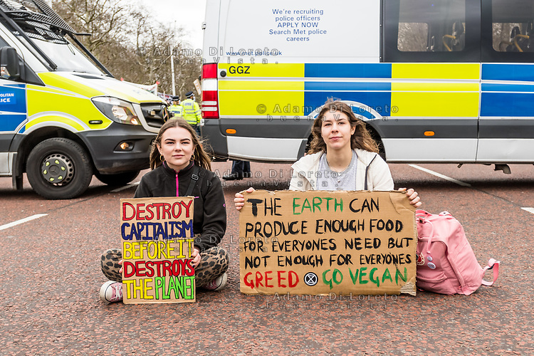 London, England on 15 March 2019: two girls protesters in front of Buckingham palace during the youth climate strike in London. The protest against climate change and urge the government to take action.The global movement has been inspired by teenage activist Greta Thunberg, who has been skipping school every Friday since August to protest outside the Swedish parliament. Photo Adamo Di Loreto/BunaVista*photo