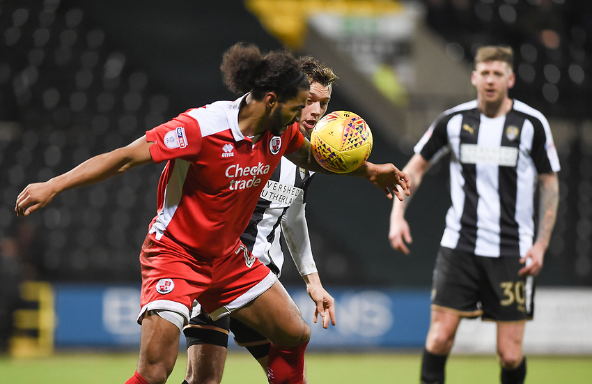 Notts County's Jorge Grant Crawley battles with Town&rsquo;s Josh Lelan who handles the ball giving Notts County a penalty<br /> <br /> Photographer Jon Hobley/CameraSport<br /> <br /> The EFL Sky Bet League Two - Notts County v Crawley Town - Tuesday 23rd January 2018 - Meadow Lane - Nottingham<br /> <br /> World Copyright &copy; 2018 CameraSport. All rights reserved. 43 Linden Ave. Countesthorpe. Leicester. England. LE8 5PG - Tel: +44 (0) 116 277 4147 - admin@camerasport.com - www.camerasport.com