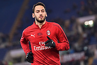 Hakan Calhanoglu of AC Milan warms up head the Serie A 2018/2019 football match between AS Roma and AC Milan at stadio Olimpico, Roma, February 3, 2019 <br />  Foto Andrea Staccioli / Insidefoto